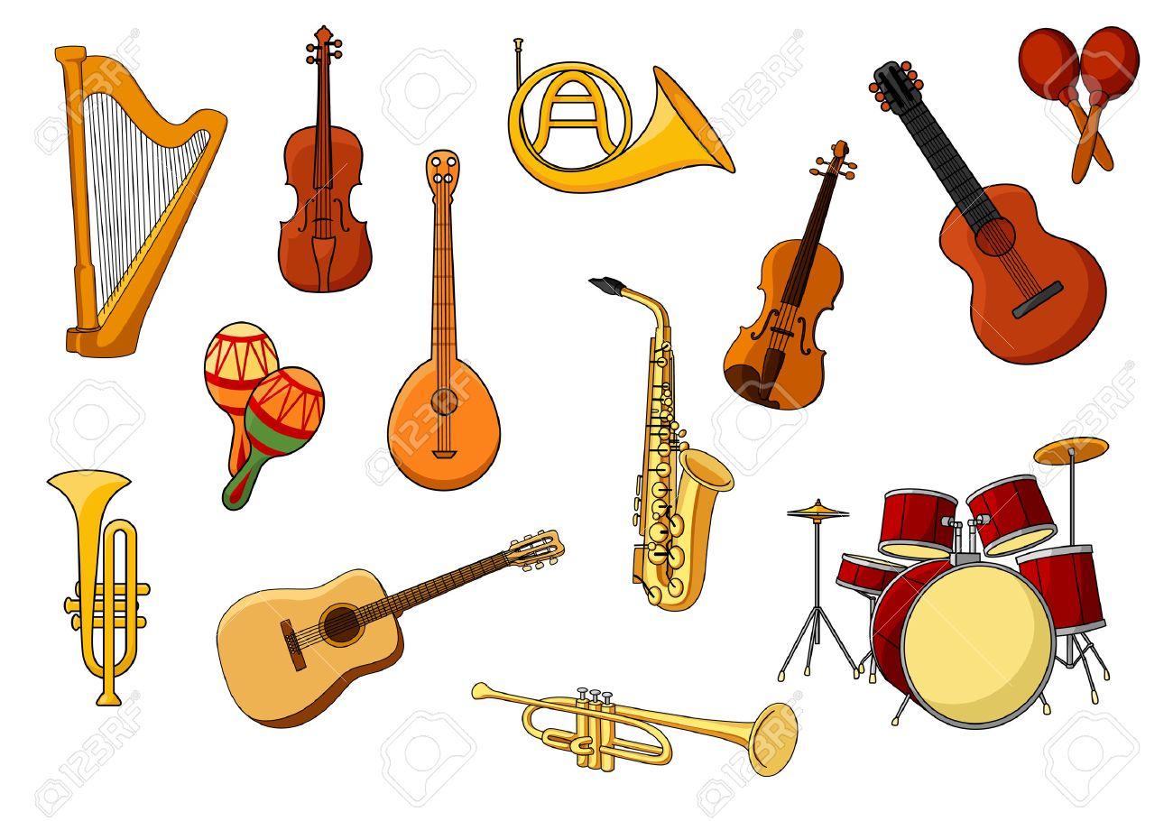 Conjunto De Dibujos Animados De Colores Iconos De Instrumentos