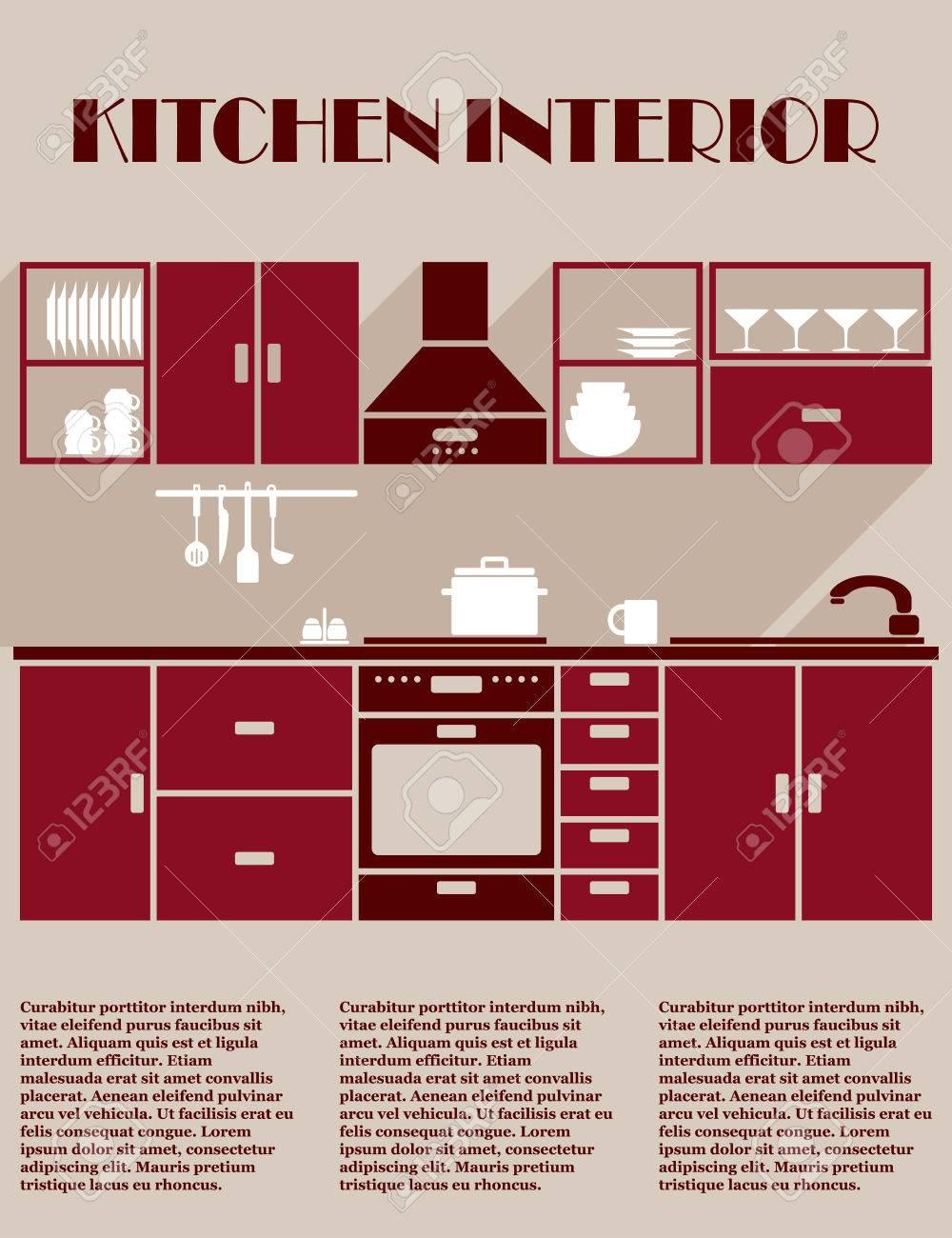 Küche Interieur Infografik Template In Den Farben Rotbraun Mit Einer ...