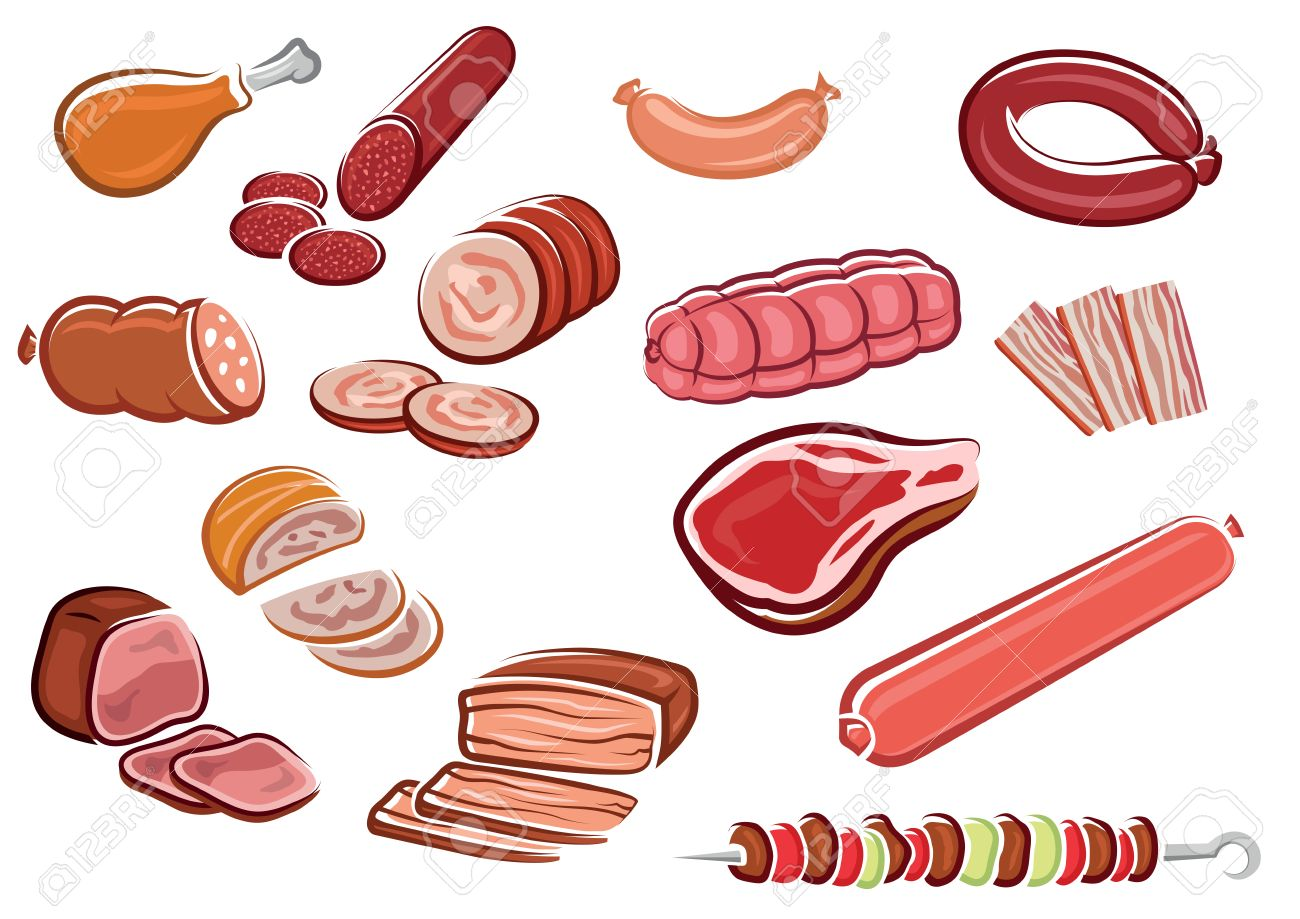 Meat Products In Cartoon Style Including Bacon Strips Sliced Sausages And Roast Beef Fresh