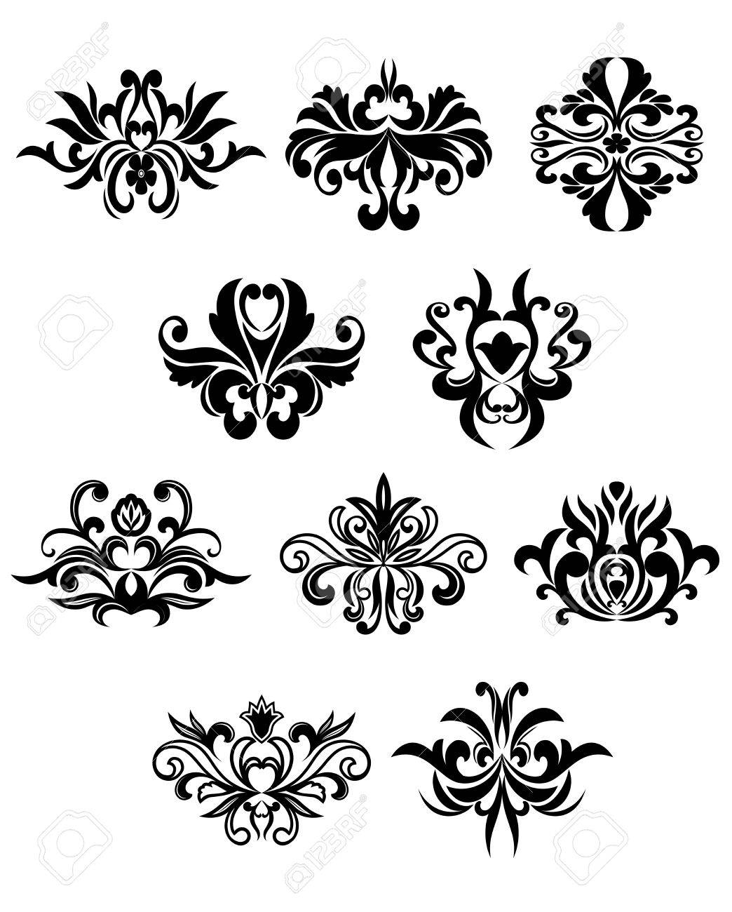 80a1e22e005 Flourish design elements in damask style showing black curly abstract  flowers isolated on white background suitable