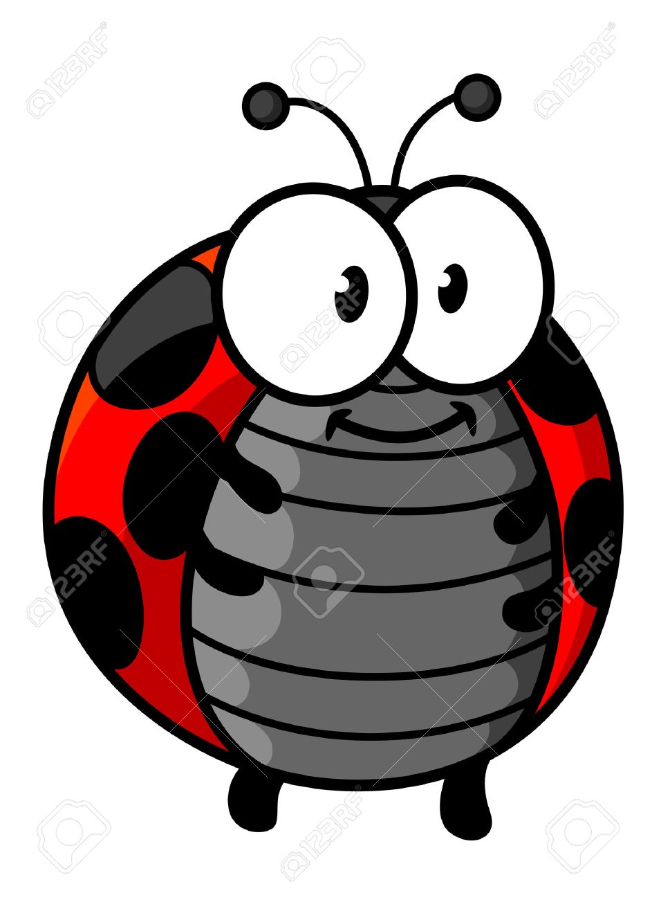 Ladybug Cartoon Character Showing Cute Smiling Red And Black Spotted Bug  With Little Legs, Funny