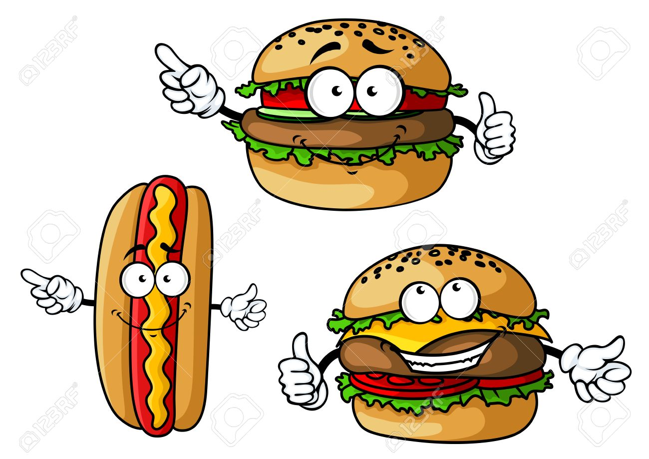 funny hamburgers and dog cartoon characters with appetizing