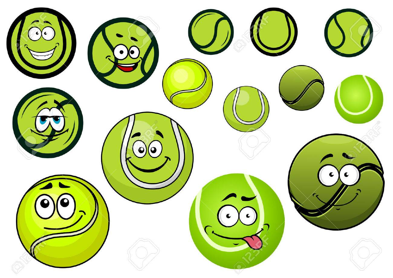 Tennis ball mascot stock photos tennis ball mascot stock photography - Cute Green Tennis Balls Mascots Cartoon Characters With Black And White Wavy Lines And Second Variant