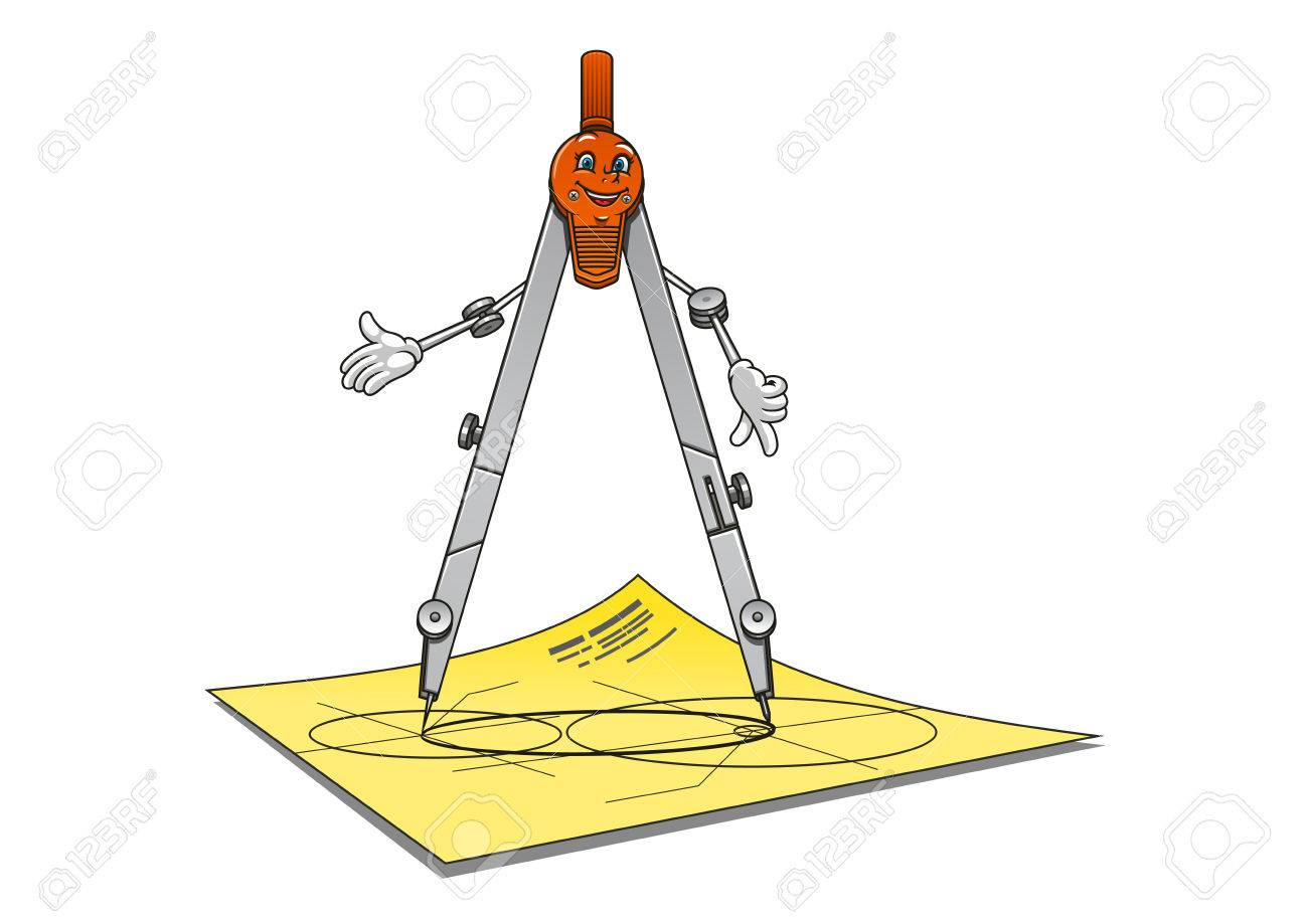 Cartoon School Or Architecture Compass Character With Happy Smiling Face Standing On A Drawing Paper Suited