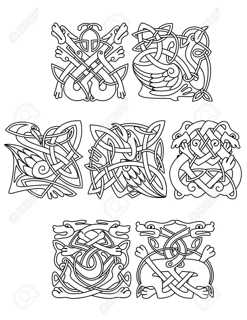 Abstract Contoured Animals And Birds In Traditional Celtic Knot