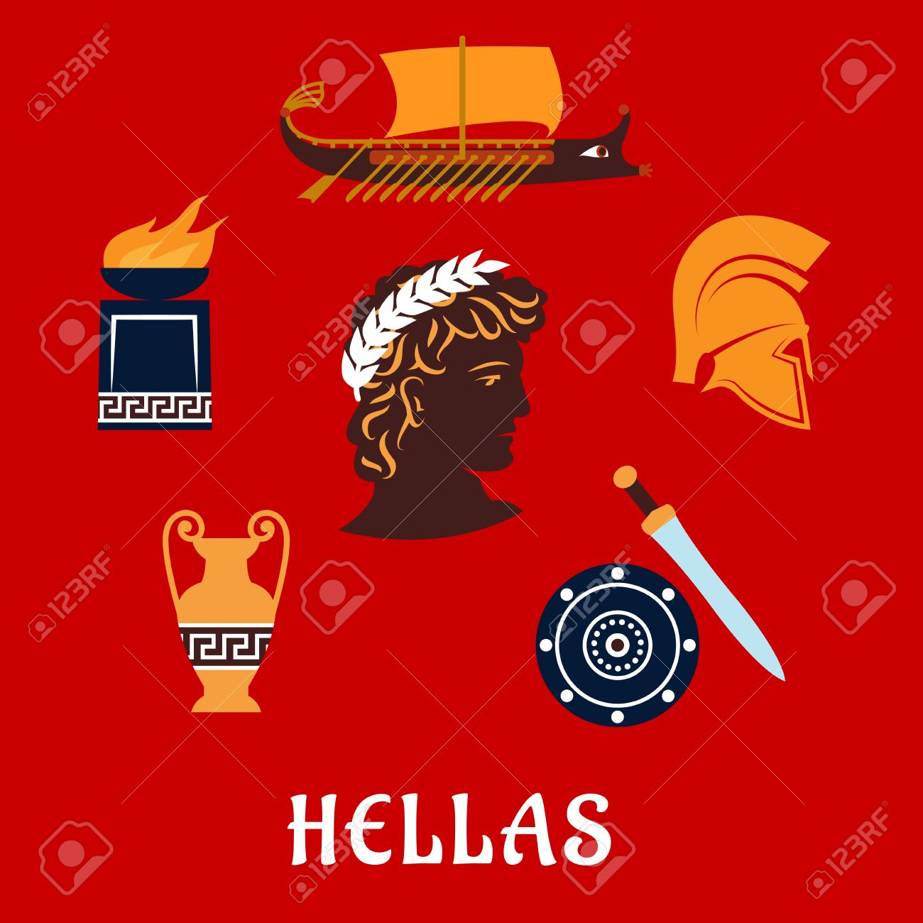 Ancient greece flat concept depicting greek hero profile in laurel ancient greece flat concept depicting greek hero profile in laurel wreath surrounded by greek symbols biocorpaavc Image collections