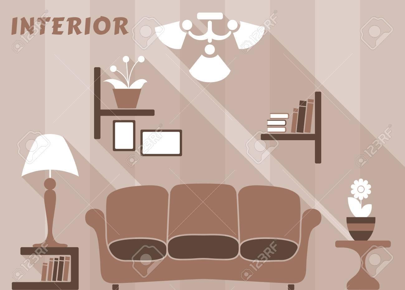 Standard Bild   Wohnung Moderne Innenraum Wohnzimmer In Weiß, Beige Und  Braune Farben Mit Bücherregalen Und Bilder, Sofa, Nachttische Mit Lampe,  Blumen, ...