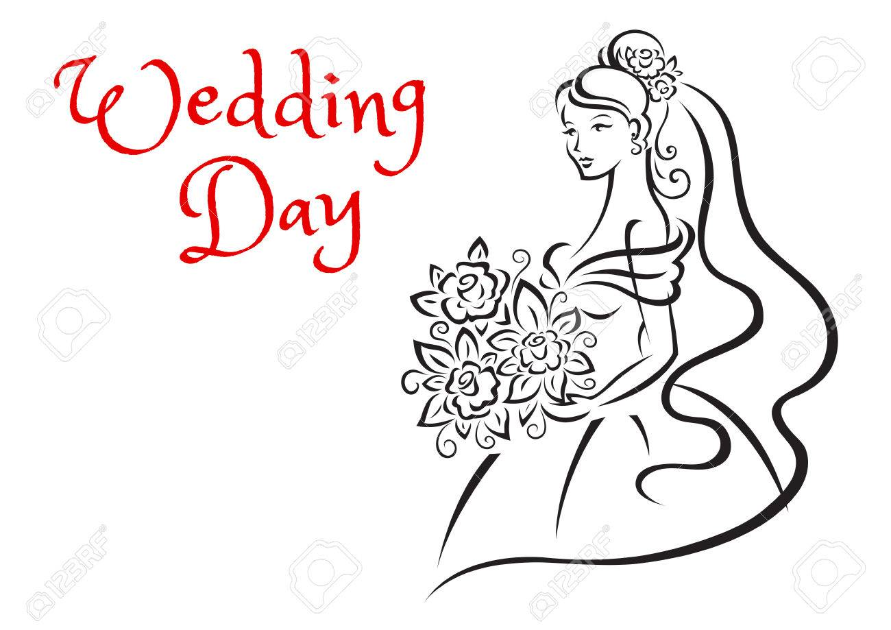 Wedding Day Greeting Card Template Depicting Silhouette Of Graceful