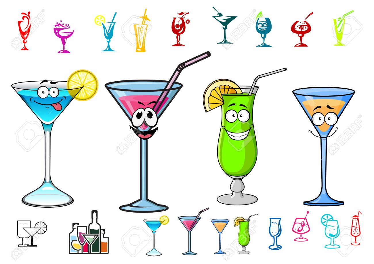 happy cocktails drinks cartoon characters with straws and lime rh 123rf com cartoon drink water cartoon drink images