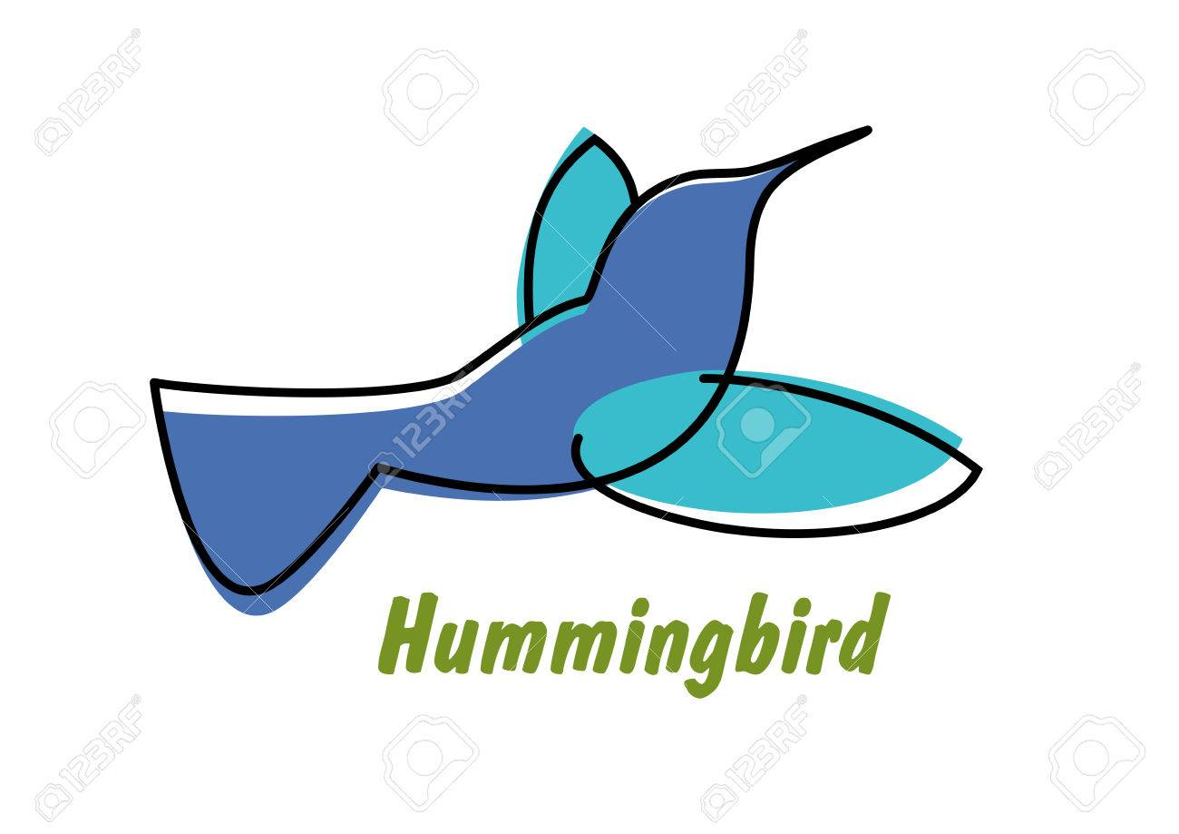 Contoured flowing blue hummingbird in flight symbol or icon with contoured flowing blue hummingbird in flight symbol or icon with small graceful bird with long thin biocorpaavc Gallery