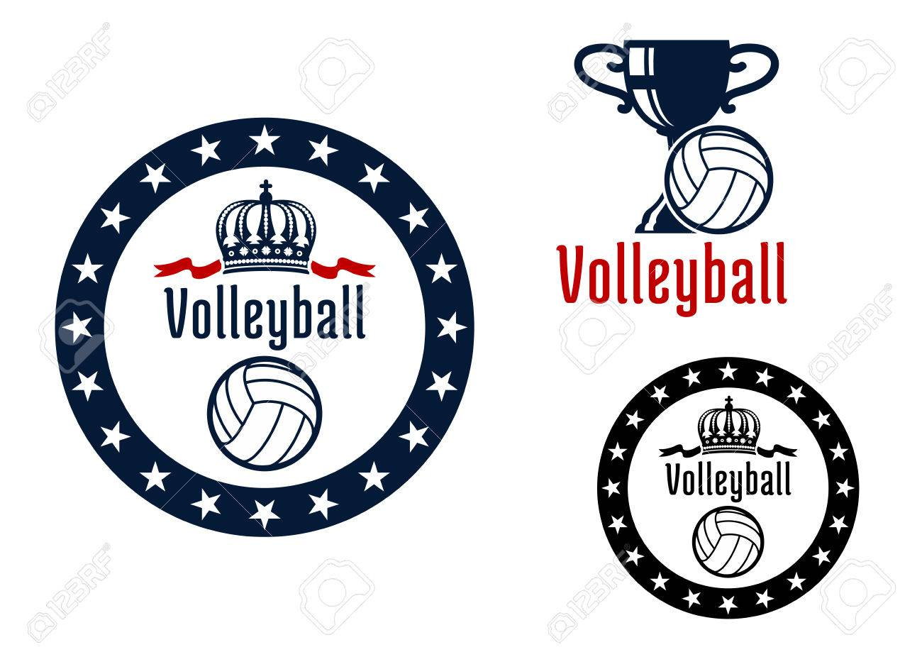 Volleyball sport game heraldic emblems woth round frame royal volleyball sport game heraldic emblems woth round frame royal crown trophy cup and white biocorpaavc Choice Image