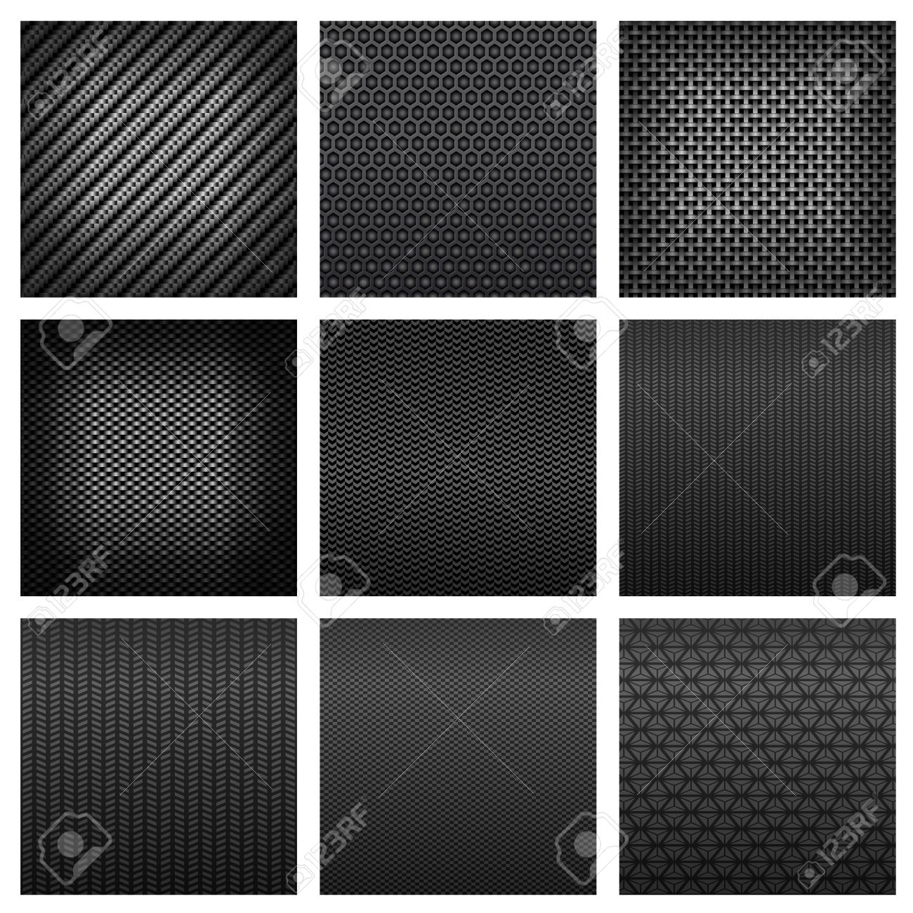 Carbon And Fiber Seamless Patterns With Dark Gray Fabric Textures
