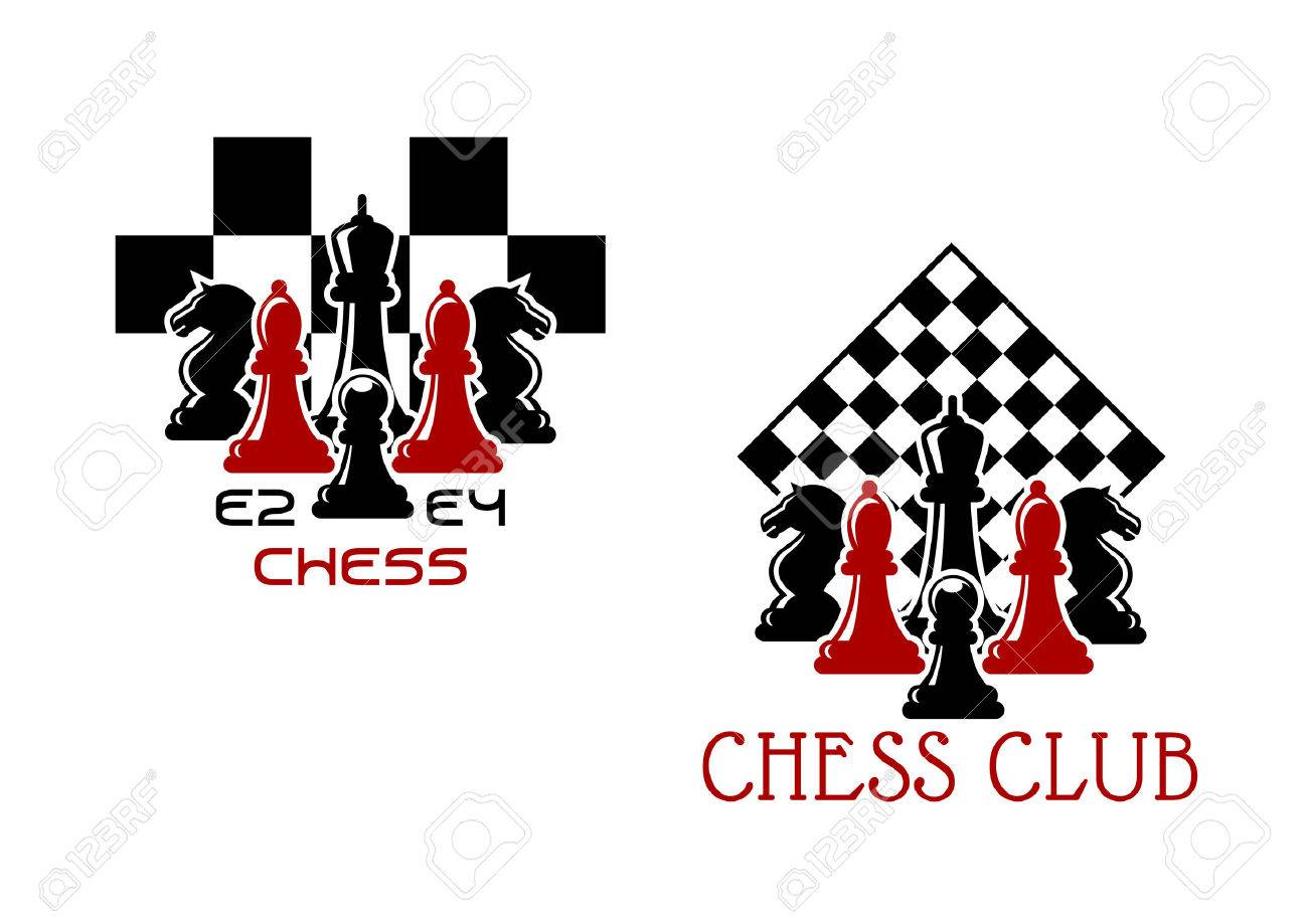 Chess Club Sport Emblems Or Symbols With Chessmen Ant Turned