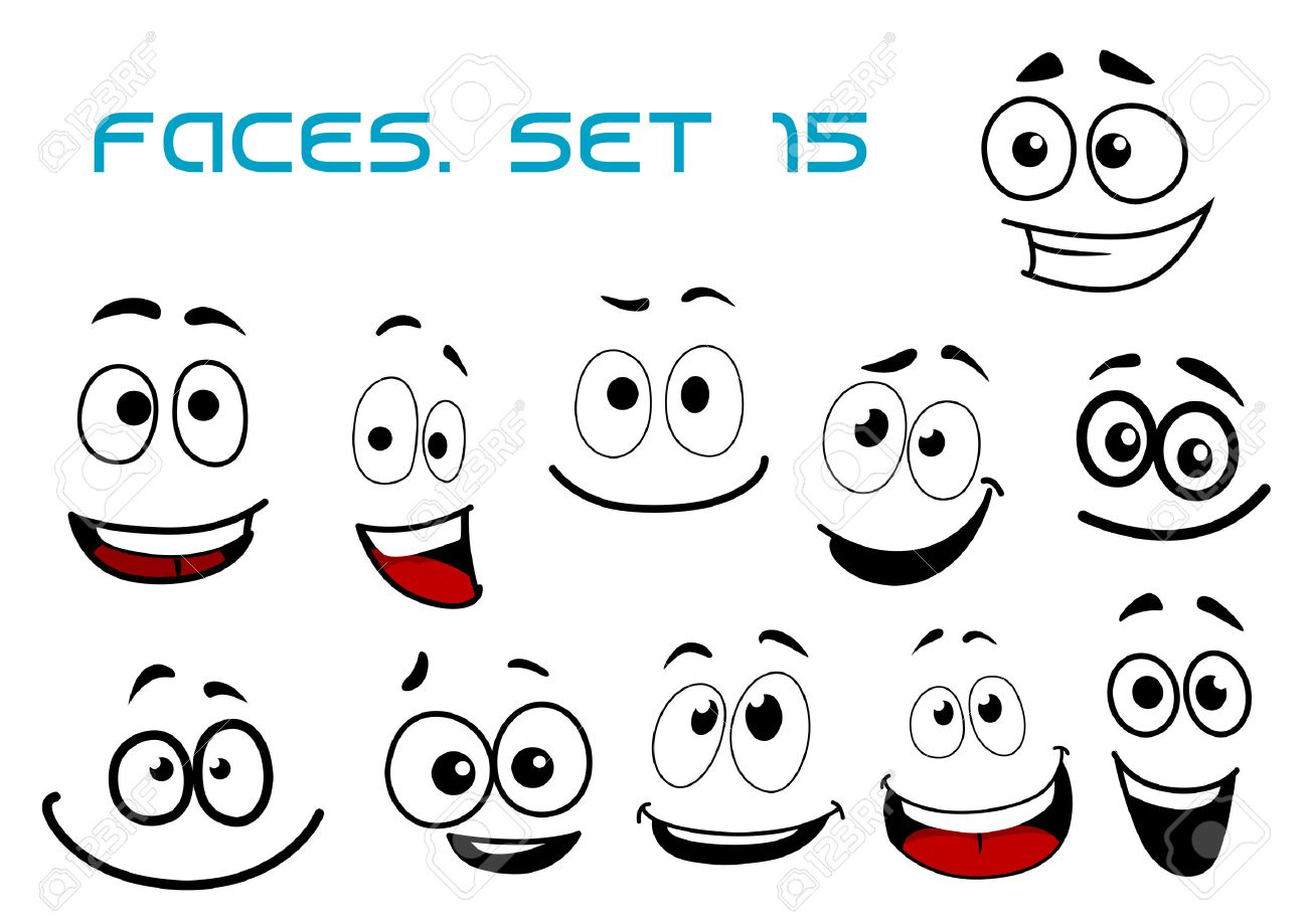 Laughing and toothy smiling funny faces with big googly eyes in cartoon comic style for humor caricature or avatar design - 39206010