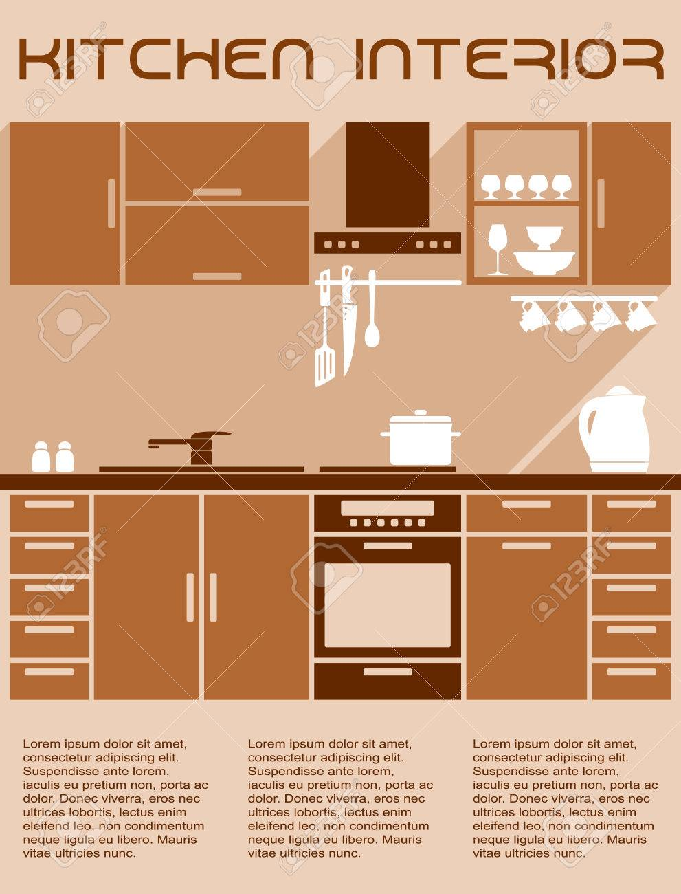 Kitchen Interior Design In Warm Brown And Beige Colors With Work