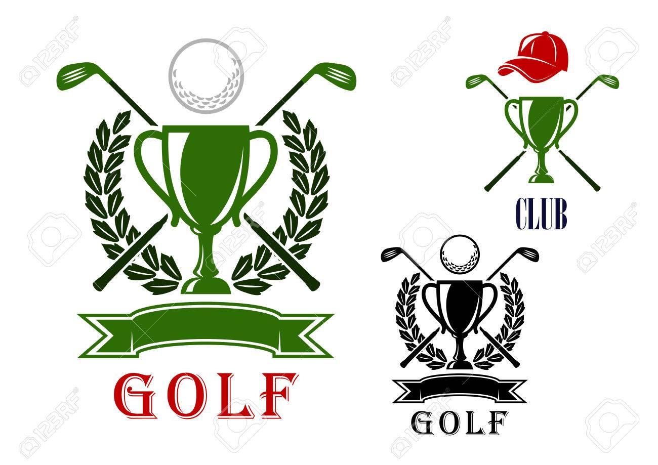 Golf Club Oder Turnier-Emblem Und Abzeichen-Design-Vorlagen Mit ...