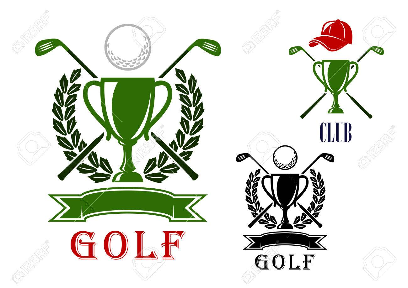 Golf club or tournament emblem and badges design templates with
