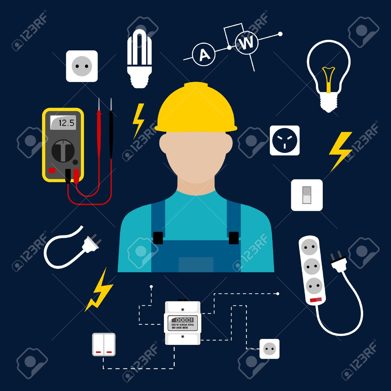 Professional Electrician Concept With Electric Man In Yellow ...