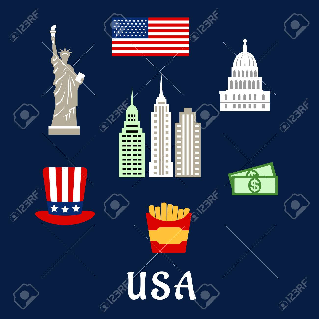 American Symbols Travel Flat Concept Depicting National Flag