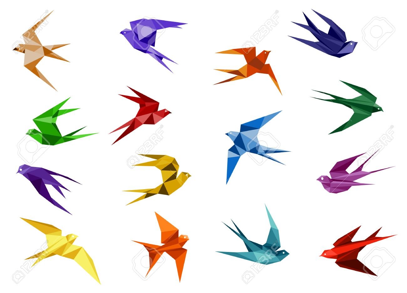 Colorful Origami Paper Swallow Birds In Flight Isolated On White Background For Logo Or Emblem Design