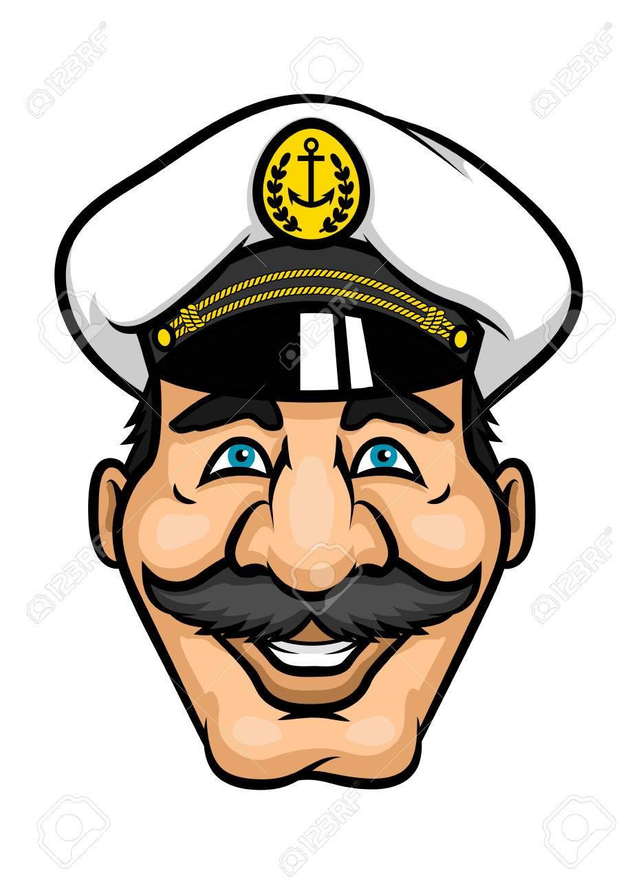 Capitán Alegre O El Carácter Marinero Con Bigotes Y Gorra Blanca ...