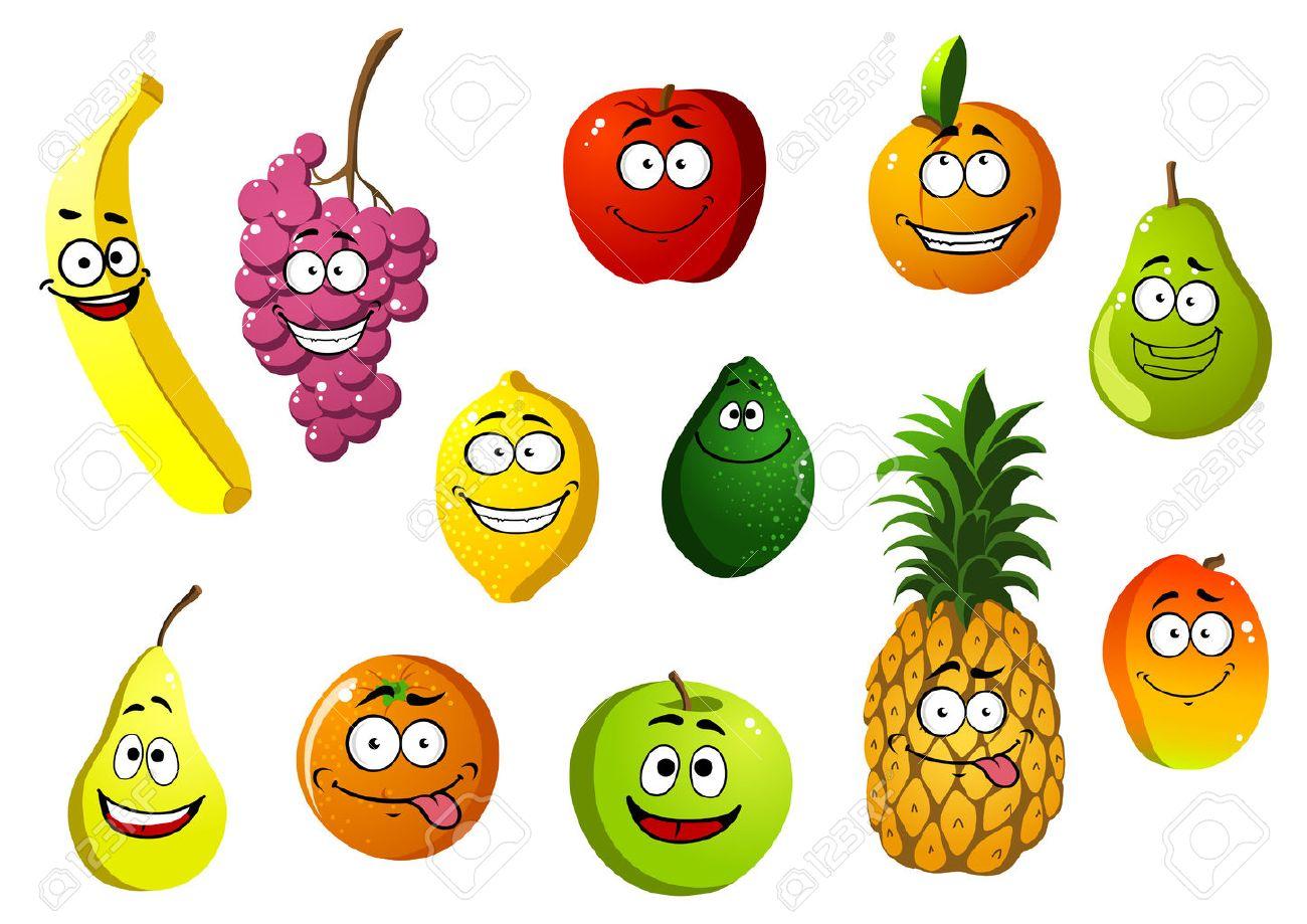 colorido feliz sonriente de dibujos animados frutas personajes con
