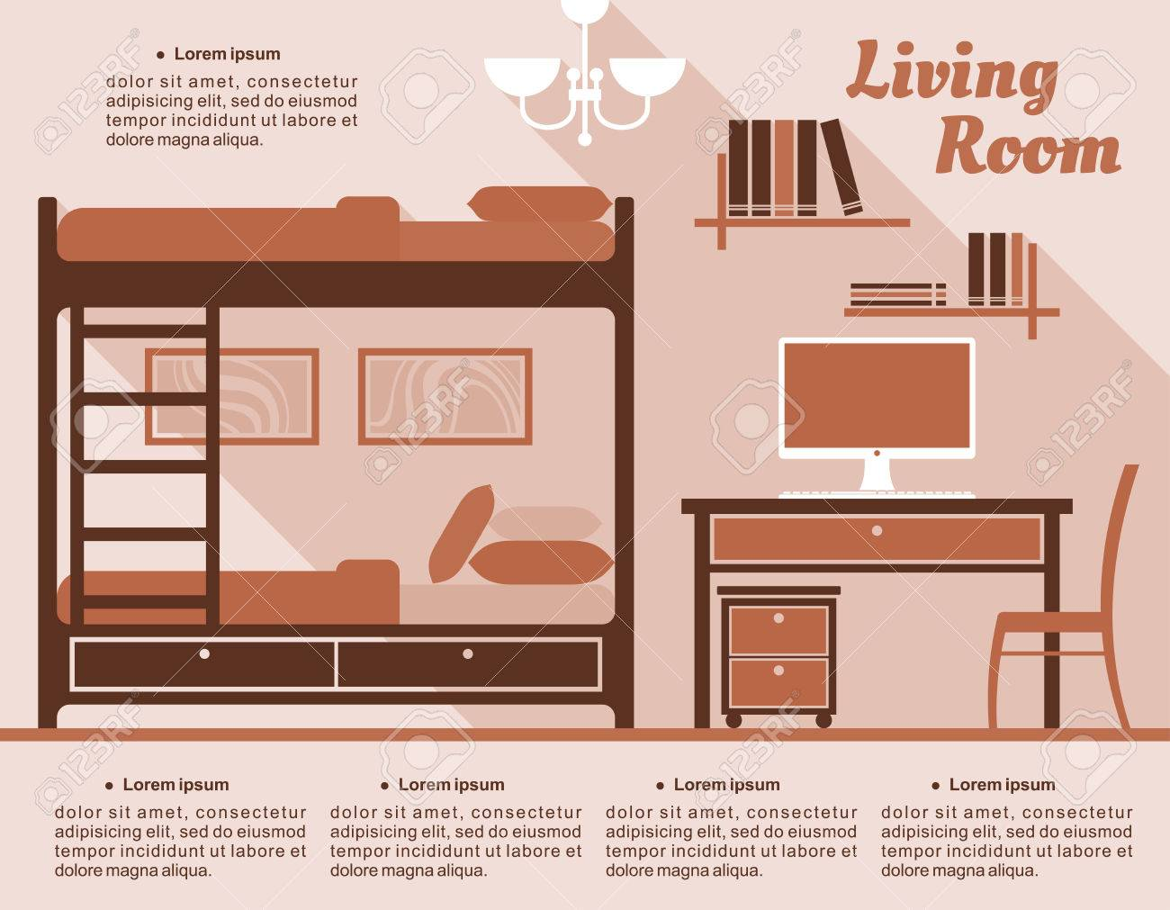 living room interior decor infographic template with a bunk bed rh 123rf com