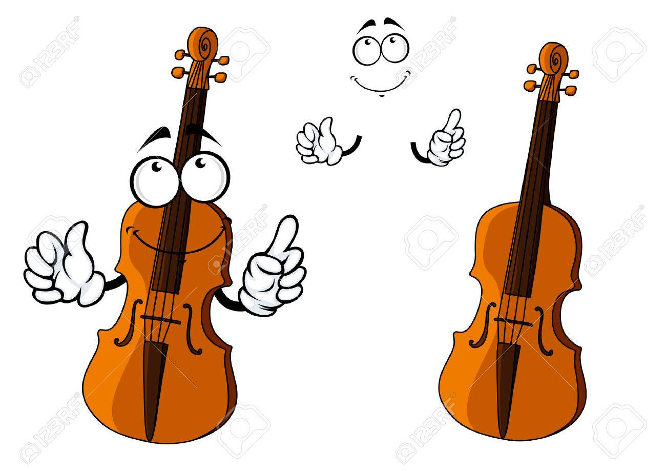 cartoon brown violin instrument character with happy smiling rh 123rf com Musical Vectors Guitar Abstract Vector