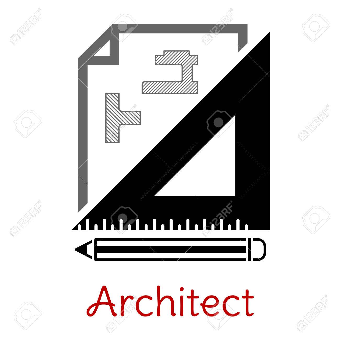 Black and white architect icon with a building blueprint right black and white architect icon with a building blueprint right angle set square and pencil malvernweather Images