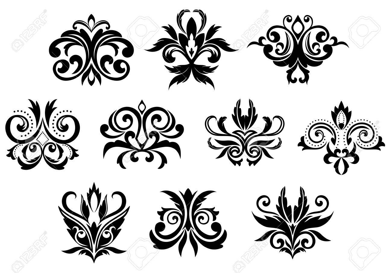 Assorted Decorative Black Gothic Flowers And Blossoms Set Isolated On White Background Stock Vector