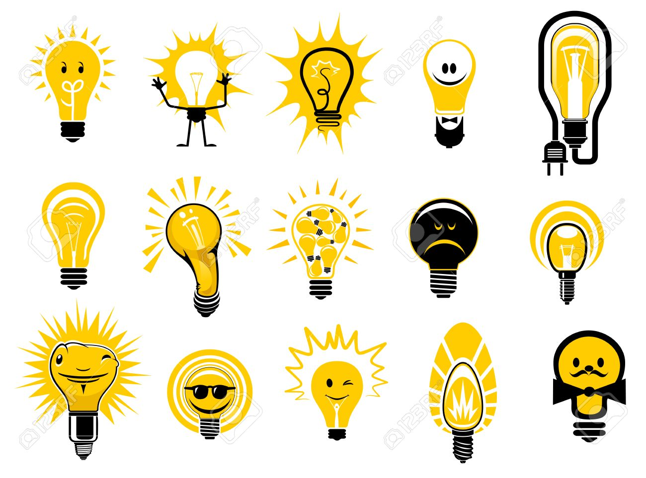 Glowing Light Bulbs Icons In Cartoon Style Showing Electric Filament