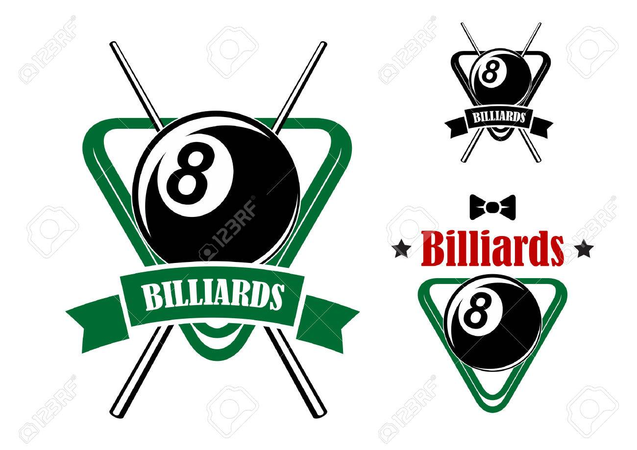 Billiards or pool game emblems with balls in the triangle racks, stars and bow tie. Second variant with crossed cues and ribbon banner.Suitable for sporting club or team design Banque d'images - 40282294