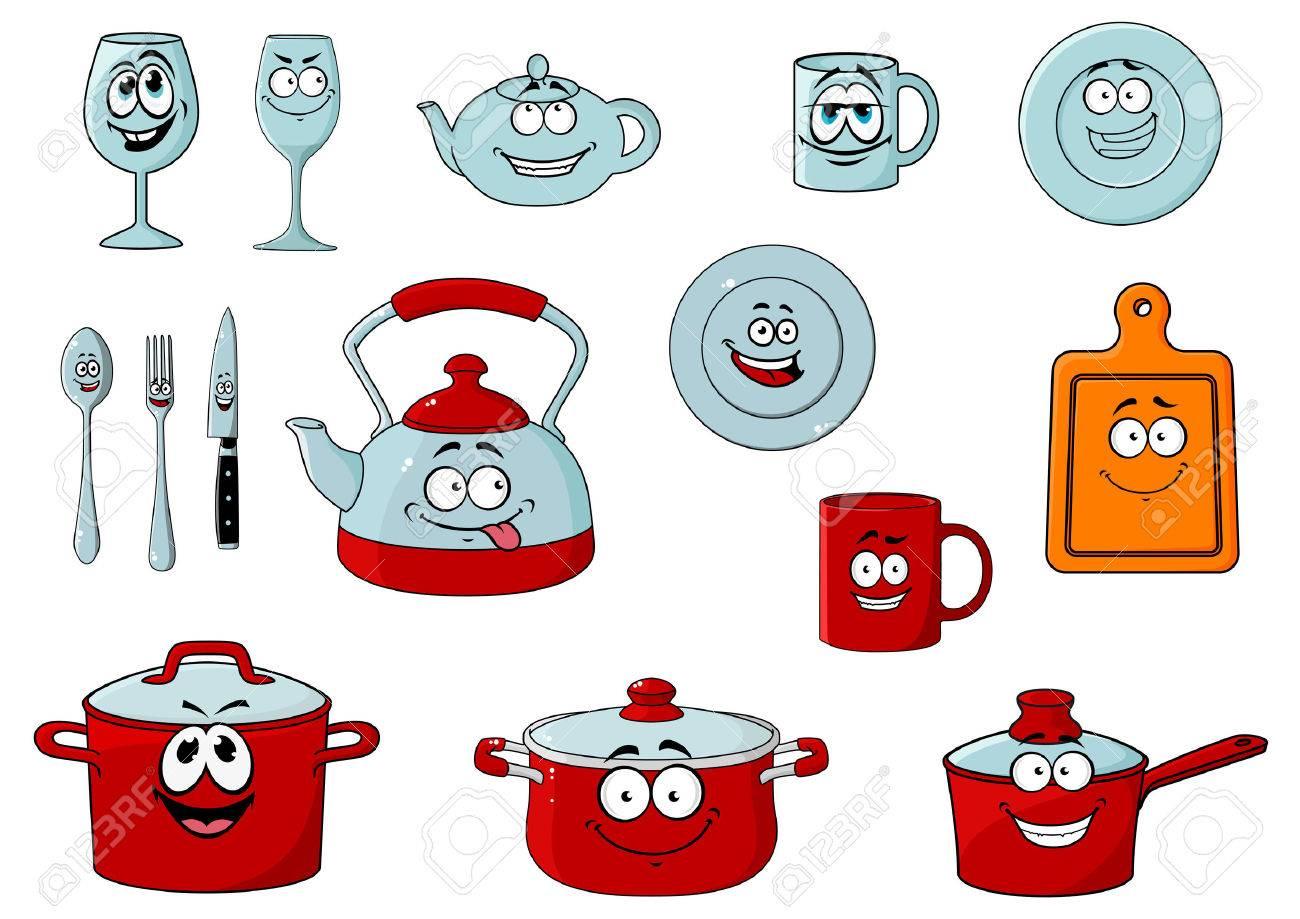 Happy Smiling Cartoon Glassware And Kitchenware Characters With  ~ Desenho Utensílios De Cozinha