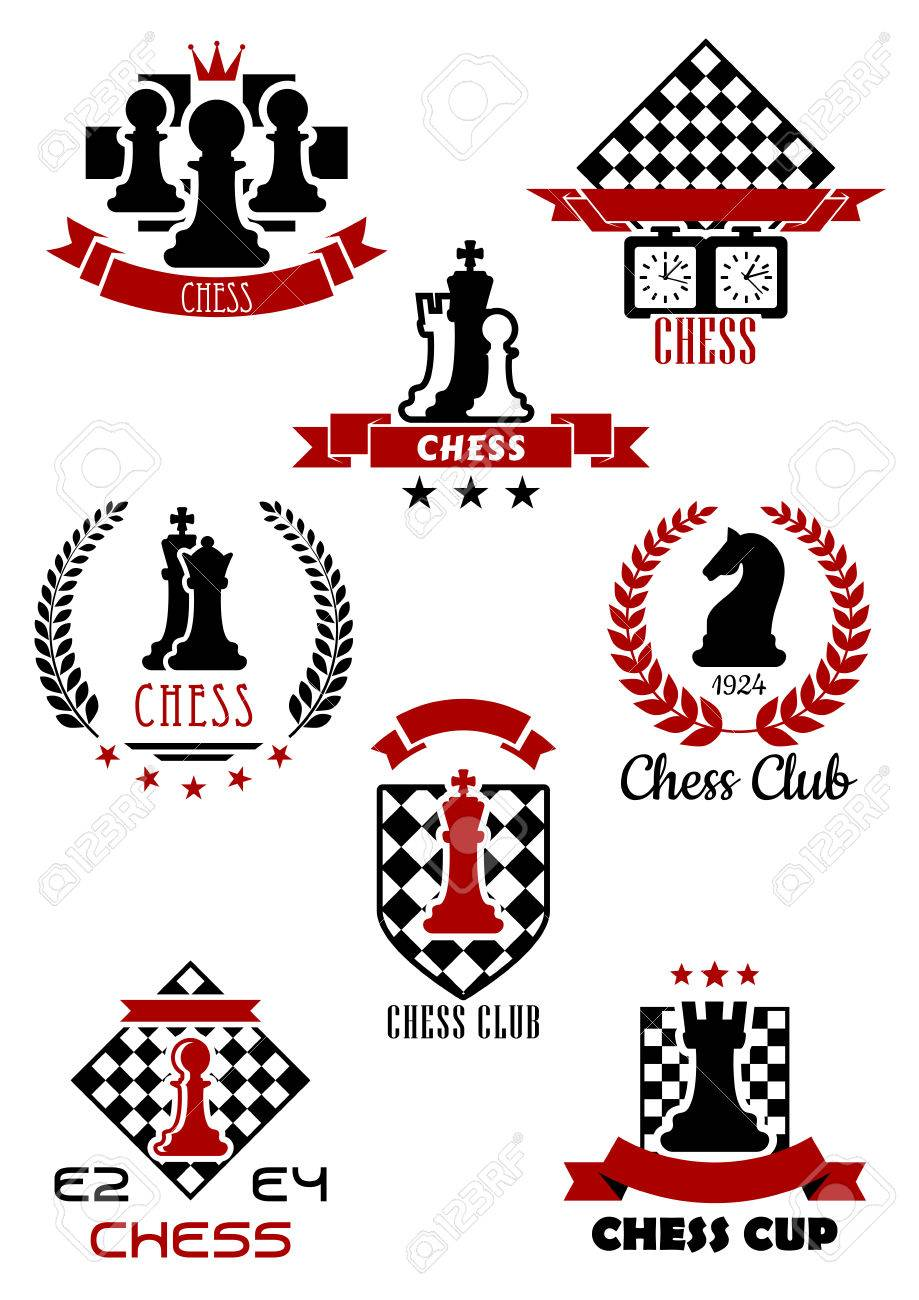 Black And Red Chess Sports Game Icons Labels And Symbols For