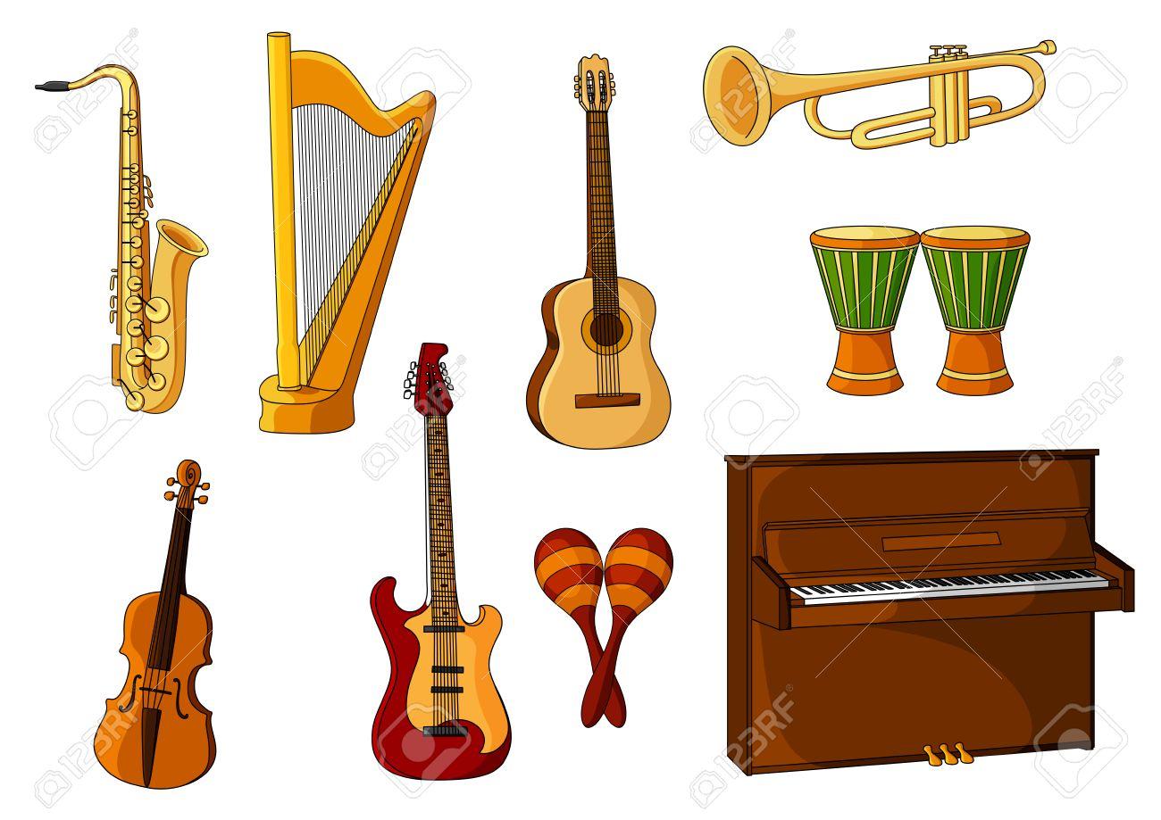 De Dibujos Animados De Colores Instrumentos Musicales Con Un Saxofón