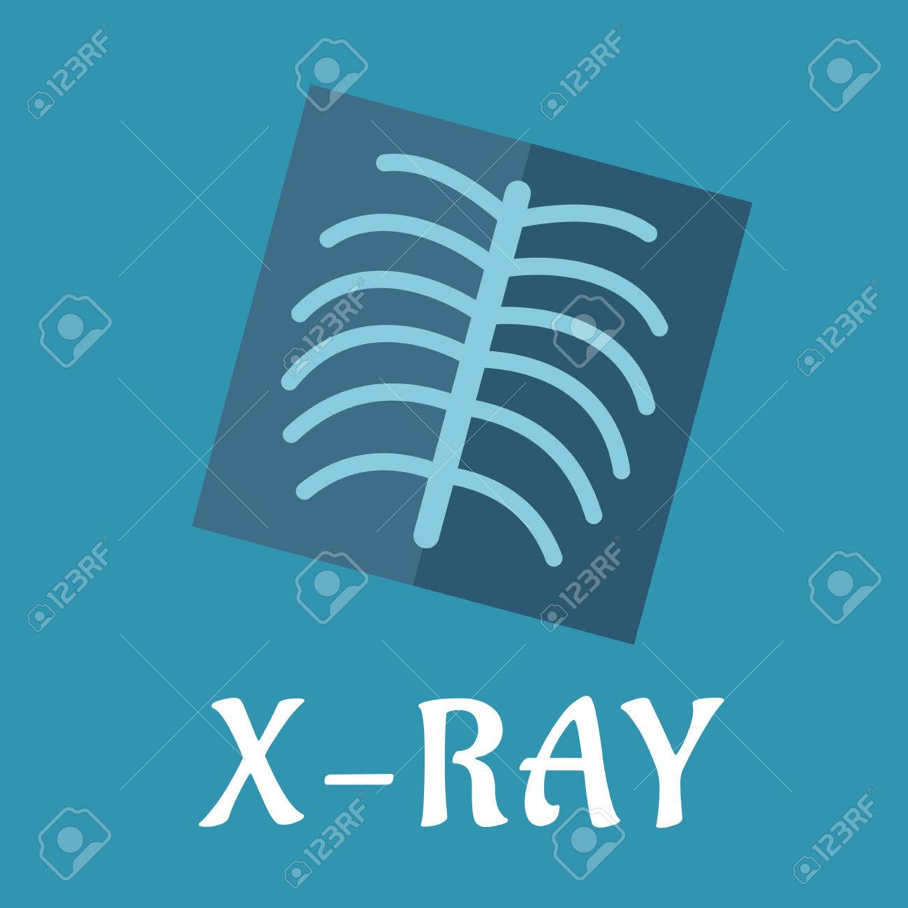 Blue Medical Flat X-ray Icon With Spine And Ribs For Medicine ...