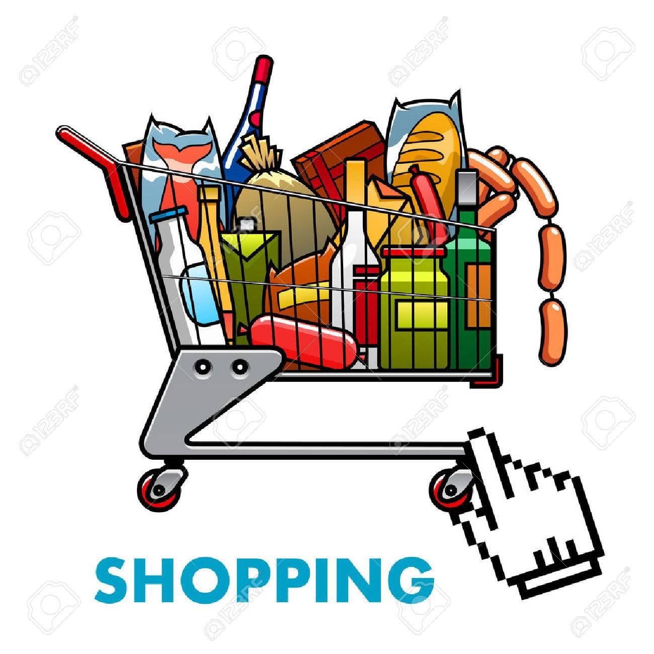 Online-Shopping-Konzept Mit Einem Vollen Warenkorb Von Sortierten ...
