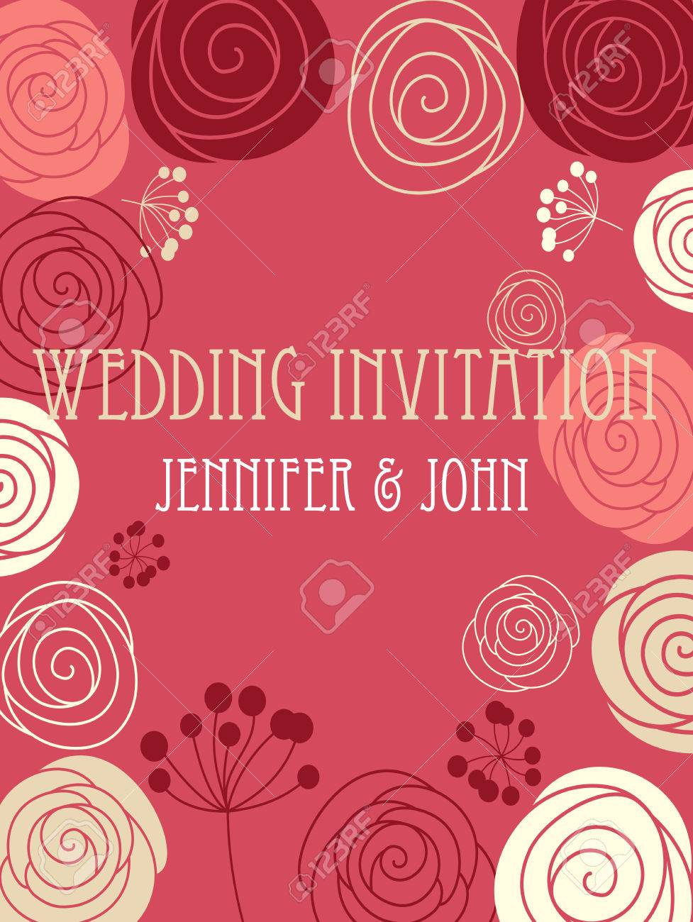 Wedding Invitation Card Template With A Stylized Floral Red ...