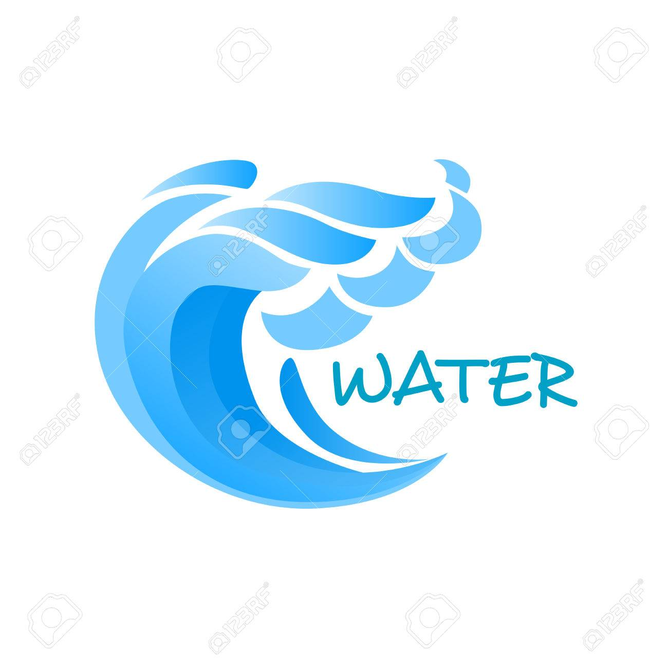 Billowing blue wave or ocean surf with splashes emblem or logo billowing blue wave or ocean surf with splashes emblem or logo template isolated on white background biocorpaavc Gallery