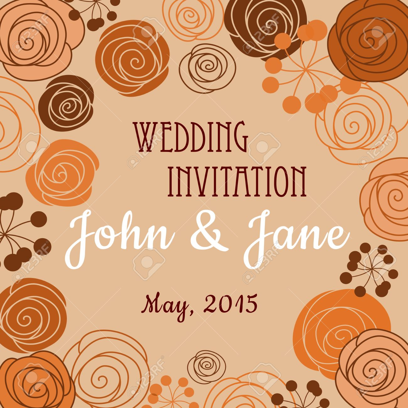 Vector Wedding Invitation Or Card Design Template In Brown Orange Pastel Colors With Floral Border Posed Of Stylized Blooming Roses Persian Buttercups: Orange And Brown Wedding Invitations At Reisefeber.org