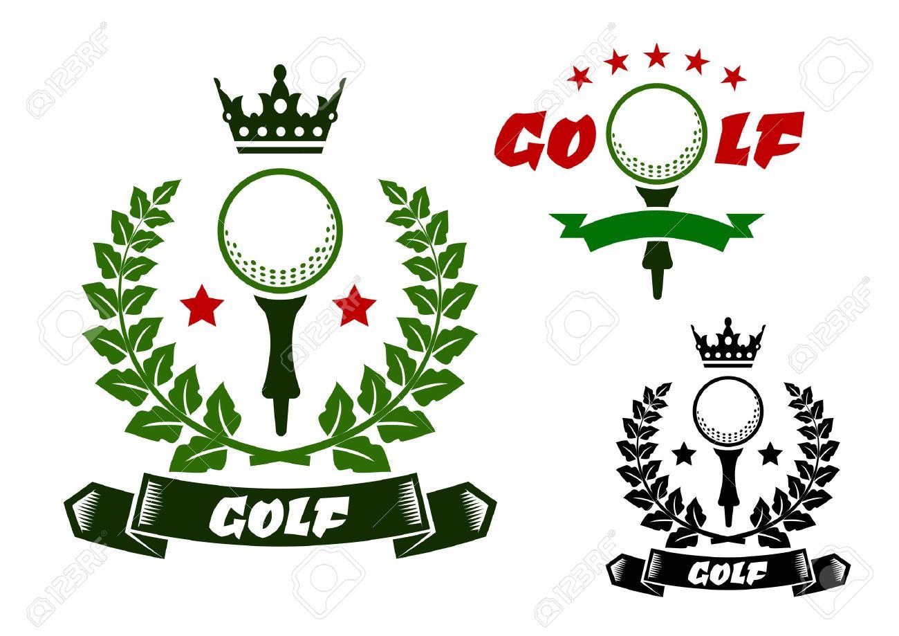Pelota De Golf En El Tee De Emblemas Deportivos O Insignias Diseño ...