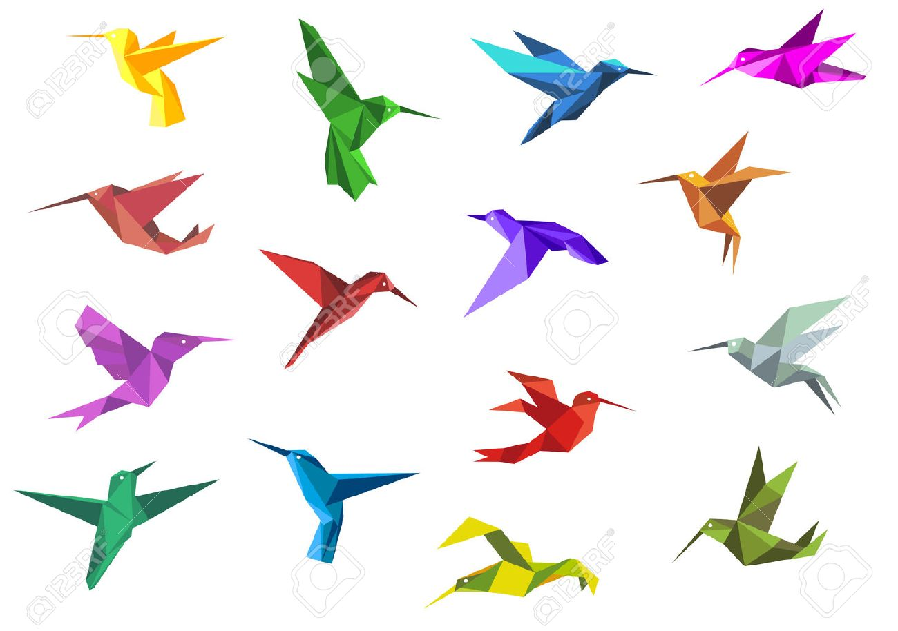 Flying Origami Paper Hummingbirds Or Colibri Isolated On White