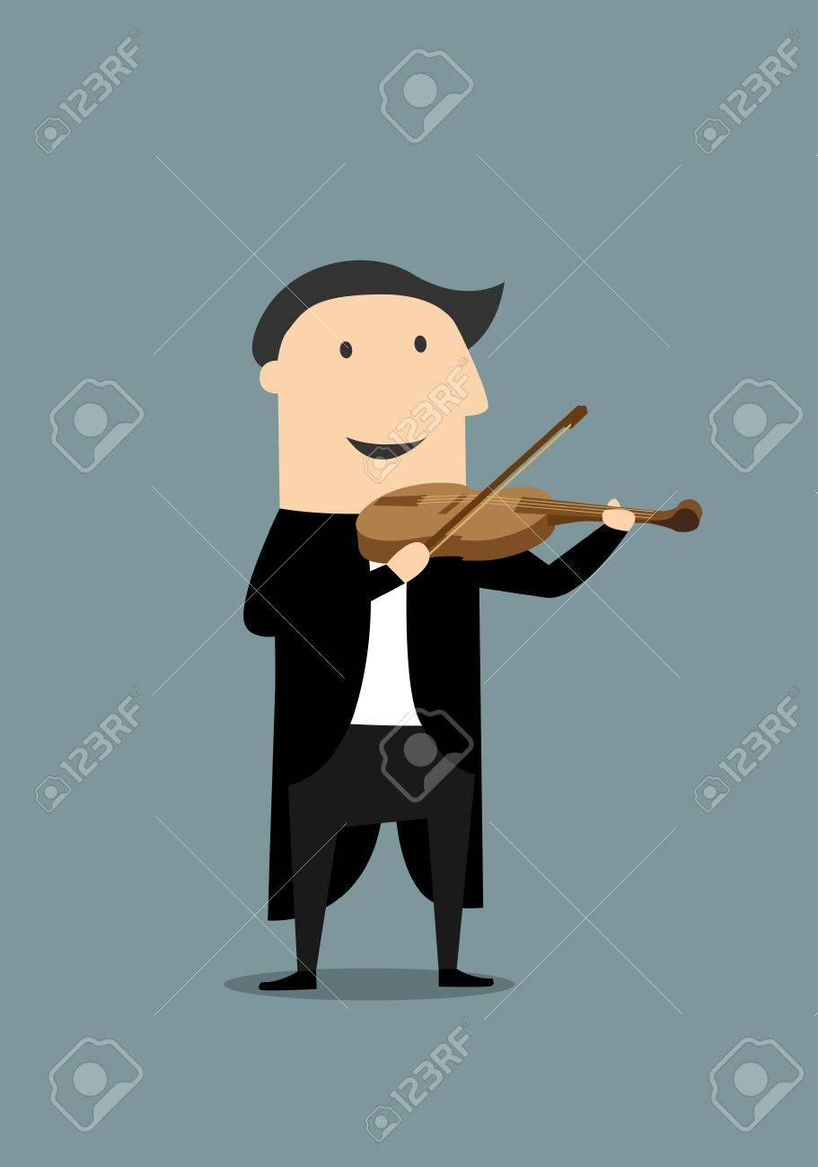 Smiling musician in elegant black tailcoat playing a violin