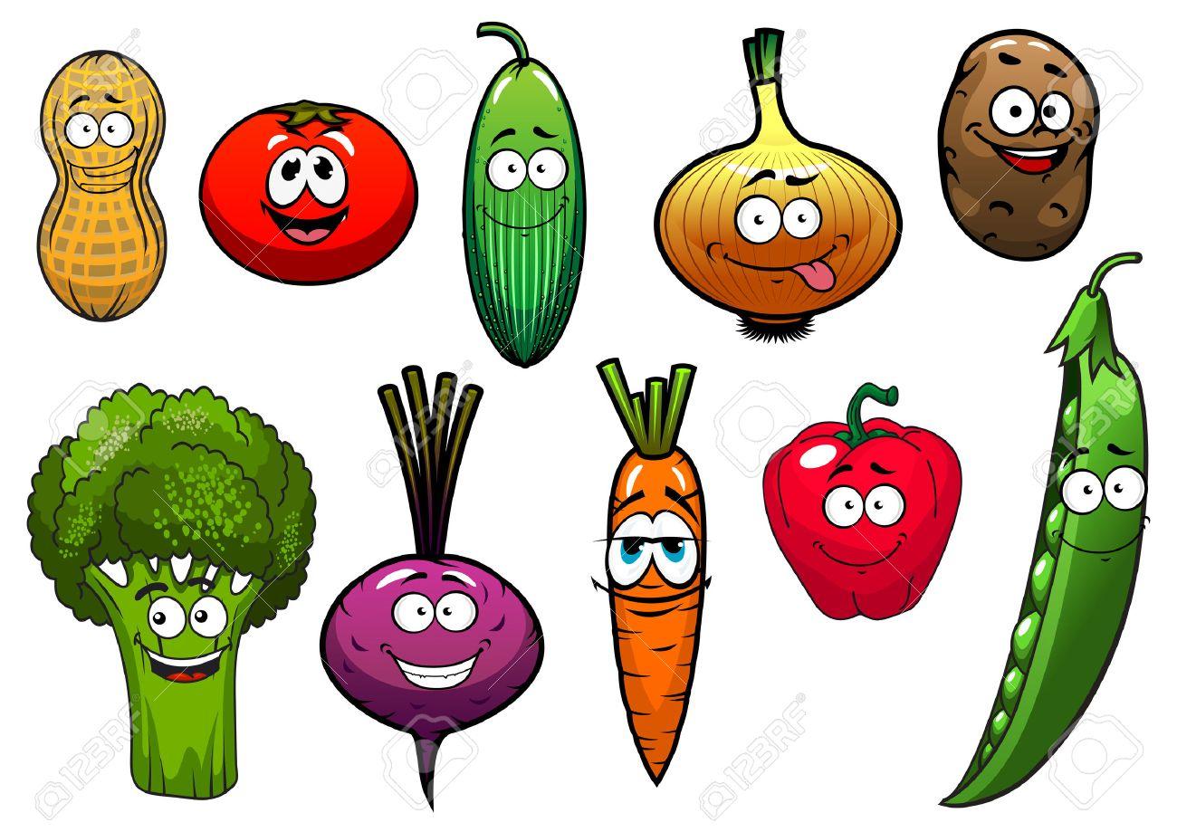 Personajes De Dibujos Animados Verduras Con Tomate Zanahoria Pepino Cebolla Patata Pimiento Brócoli Remolacha Cacahuete Guisante Para La