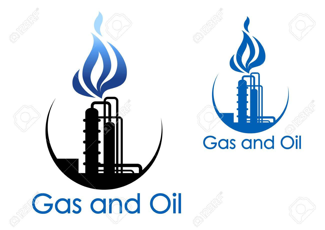Gas and oil industry symbol with extensive piping of industrial gas and oil industry symbol with extensive piping of industrial process plant with blue gas flames buycottarizona