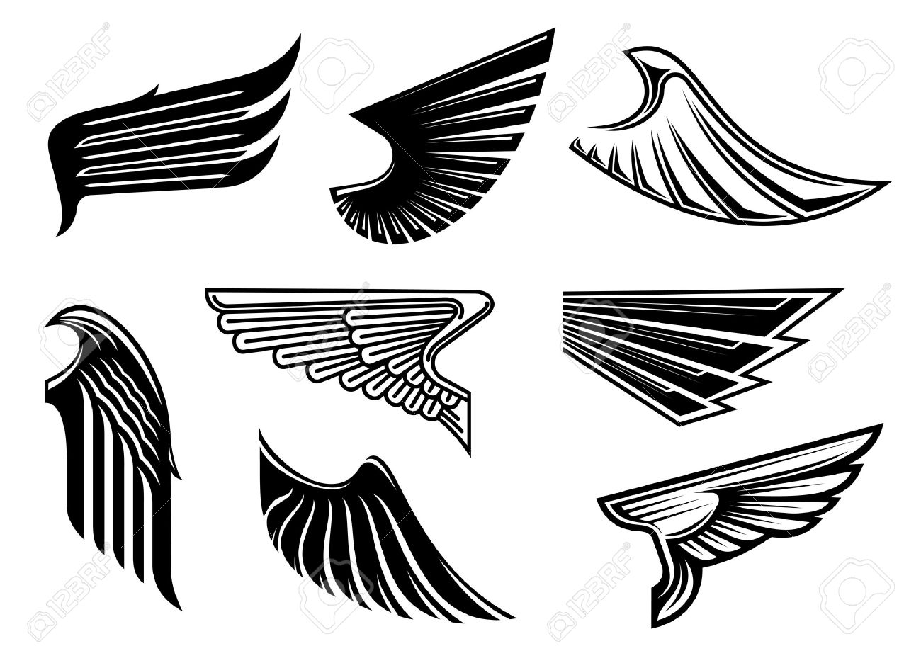 269d32877 Black tribal wings with pointed feathering isolated on white for  tattoo,religious or heraldic design