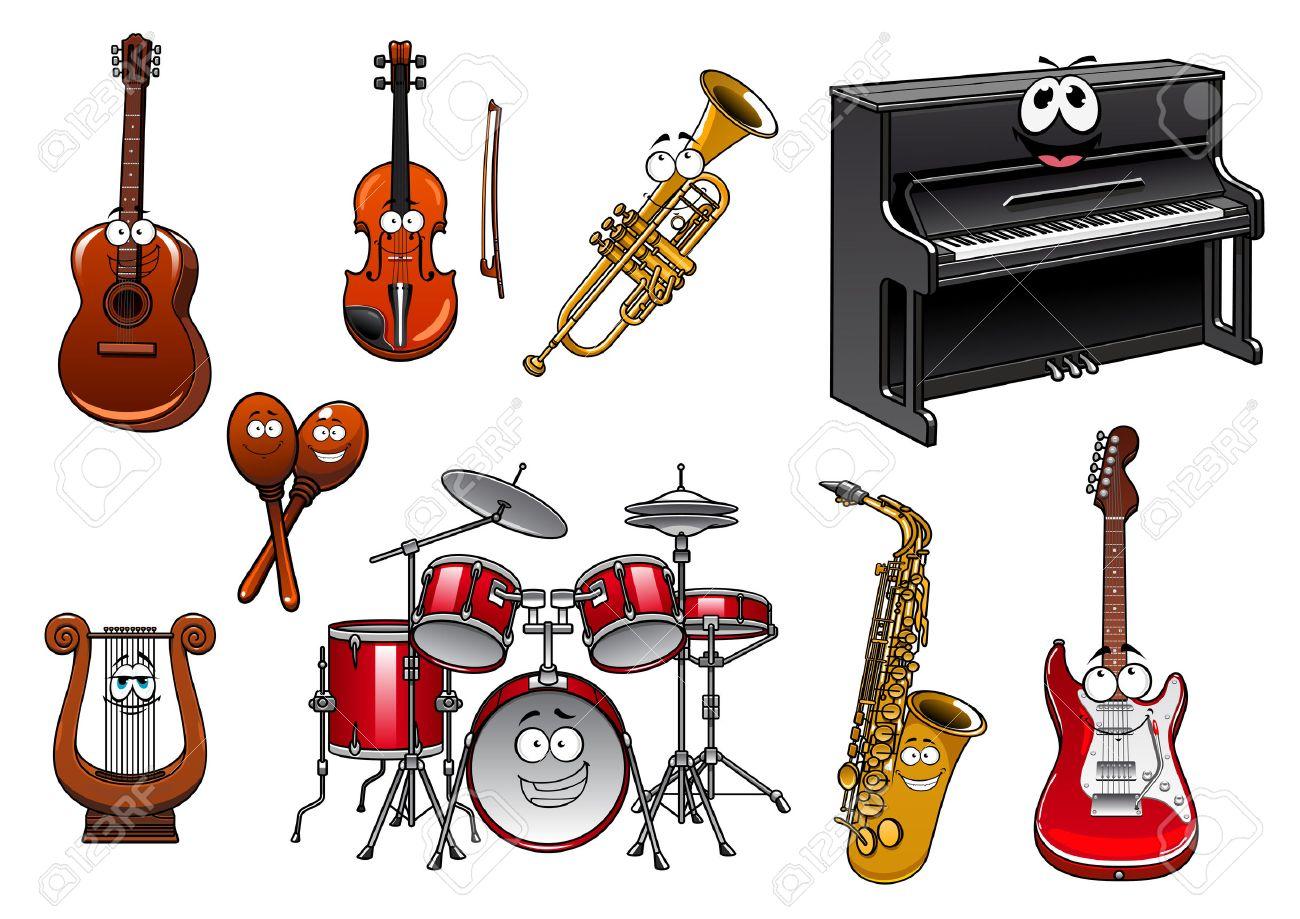 Divertidos Dibujos Animados Musicales Instrumentos Personajes Con
