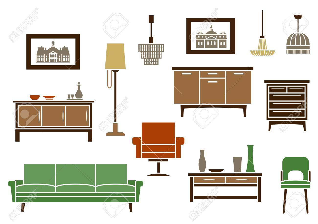 Household furniture and interior flat icons with a couch vintage chair and armchair wooden