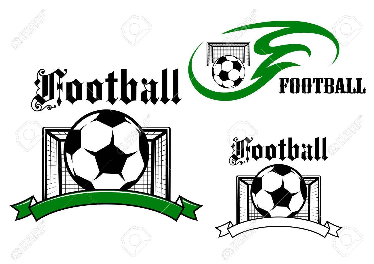 Emblemas De Fútbol Y Juego De Fútbol O Símbolos Con Los Balones De ...
