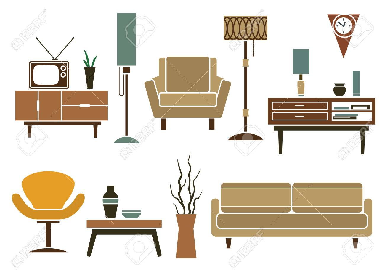 Retro Furniture And Interior Icons In Flat Style With Sofa And  # Modele De Table Television